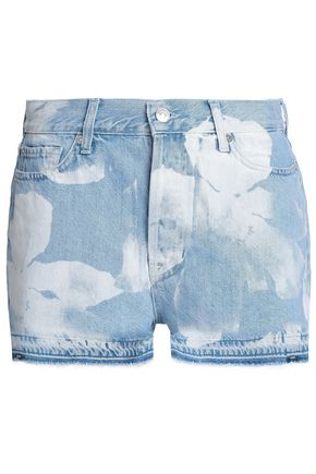 7 FOR ALL MANKIND Frayed bleached denim shorts
