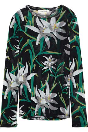 DIANE VON FURSTENBERG Floral-print mesh top