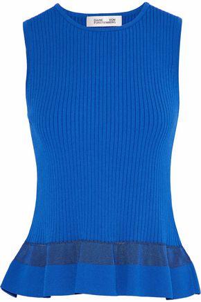 DIANE VON FURSTENBERG Ruffle-trimmed ribbed-knit top