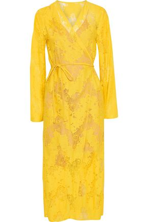 GOEN.J Cotton-blend Chantilly lace midi wrap dress