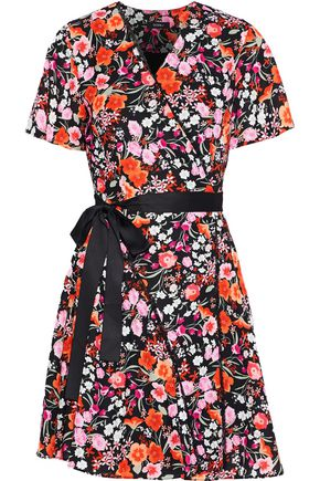 GOEN.J Lace-trimmed floral-print crepe de chine mini wrap dress