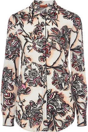 MISSONI Printed stretch-silk crepe de chine shirt