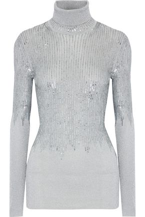 MISSONI Sequin-embellished metallic ribbed-knit turtleneck sweater
