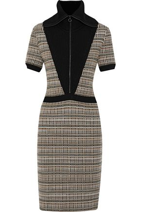 MISSONI Paneled checked wool-blend dress