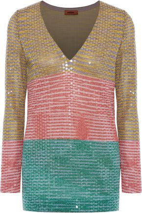 MISSONI Sequined color-block metallic crochet-knit top