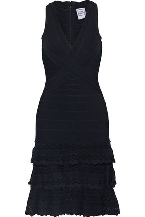 HERVÉ LÉGER Tiered pointelle knit-paneled bandage dress