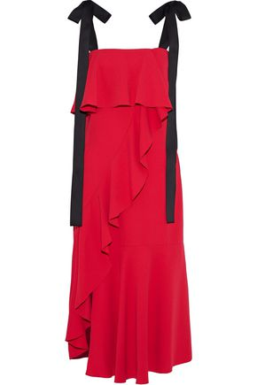 GOEN.J Bow-detailed ruffled crepe de chine midi dress