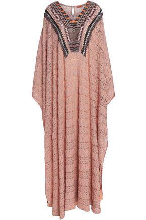 MISSONI Bead-embellished metallic crochet-knit kaftan