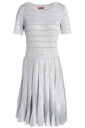 MISSONI Pleated metallic jacquard-knit dress