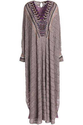 MISSONI Beaded metallic crochet-knit kaftan