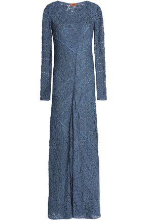 MISSONI Fluted metallic crochet-knit maxi dress