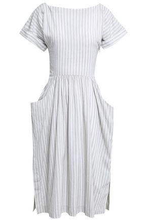 JAMES PERSE Gathered striped cotton-blend midi dress