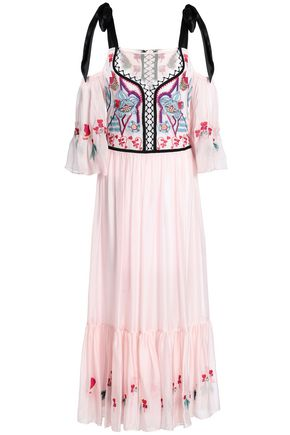 TEMPERLEY LONDON Botanist embroidered tulle and voile midi dress