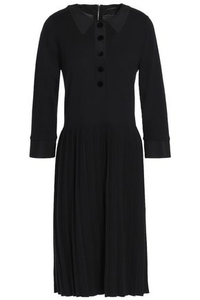 MARC JACOBS Cotton and cashmere-blend pleated dress