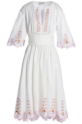 TEMPERLEY LONDON Amour embroidered cotton-poplin dress