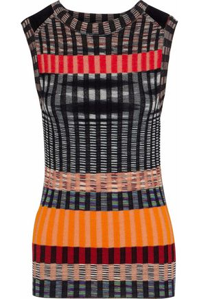 MISSONI Striped crochet-knit wool-blend top