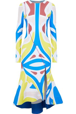ESTEBAN CORTAZAR Surf fluted printed jersey midi dress