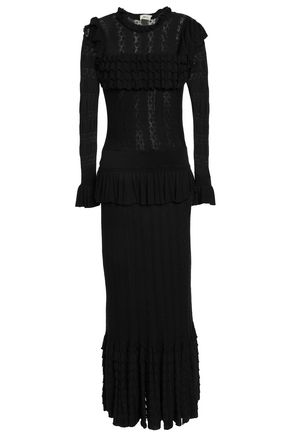 TEMPERLEY LONDON Ruffled pointelle-knit maxi dress