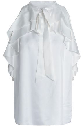TEMPERLEY LONDON Cold-shoulder ruffled silk-twill blouse