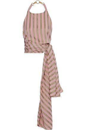 ESTEBAN CORTAZAR Scarf tie-front striped satin-crepe halterneck top