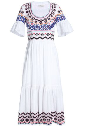 TEMPERLEY LONDON Spellbound embroidered cotton-gauze fil coupé midi dress