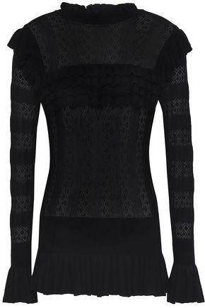 TEMPERLEY LONDON Ruffle-trimmed pointelle-knit sweater
