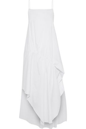 ESTEBAN CORTAZAR Asymmetric gathered cotton-blend poplin midi dress