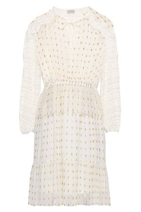 TEMPERLEY LONDON Lace-trimmed metallic fil coupé chiffon mini dress