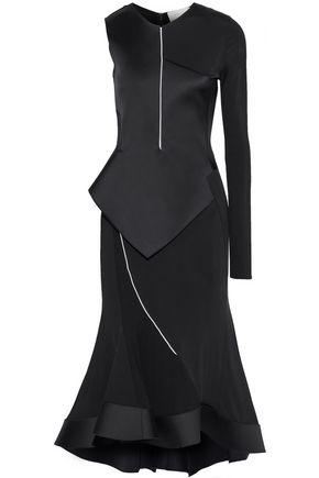 ESTEBAN CORTAZAR Asymmetric duchesse-satin and stretch-jersey peplum midi dress