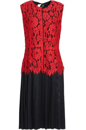 MARC JACOBS Layered corded lace and silk-satin dress