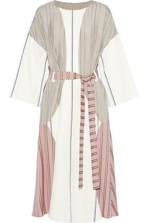 ESTEBAN CORTAZAR Belted striped cotton blend-paneled satin-crepe and jacquard midi dress