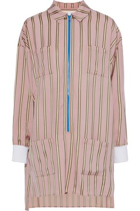 ESTEBAN CORTAZAR Striped satin-crepe mini shirt dress