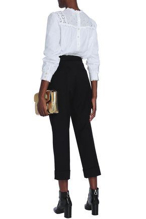 MARC JACOBS Paneled broderie anglaise and cotton-blend poplin top
