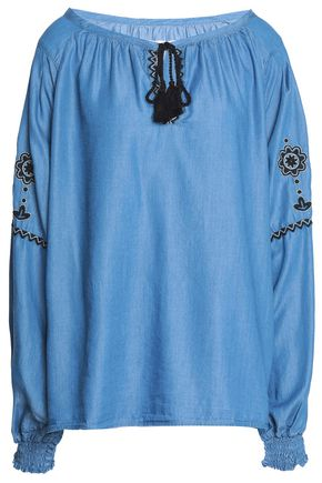 7 FOR ALL MANKIND Embroidered chambray top
