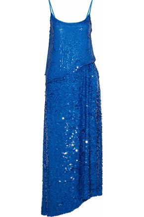 EMILIO PUCCI Asymmetric sequined silk crepe de chine maxi dress