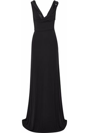 EMILIO PUCCI Draped embellished crepe gown