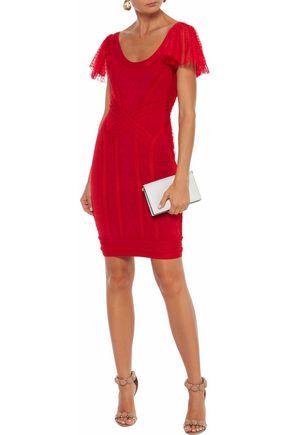 HERVÉ LÉGER Tulle-trimmed cloqué-bandage mini dress