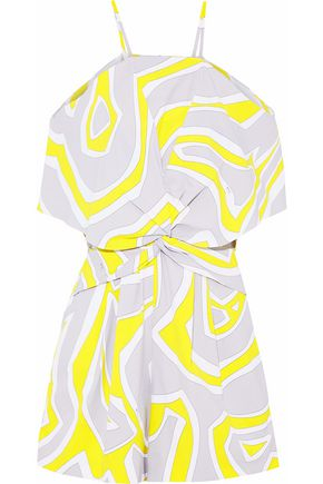 EMILIO PUCCI Cold-shoulder twist-front printed crepe playsuit