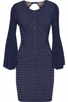 HERVÉ LÉGER Pointelle-paneled cutout jacquard-knit mini dress