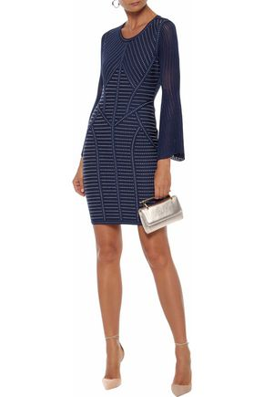 HERVÉ LÉGER Pointelle-paneled cutout jacquard-knit mini dress