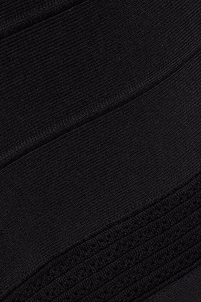 HERVÉ LÉGER Eyelet-embellished crochet-trimmed bandage gown