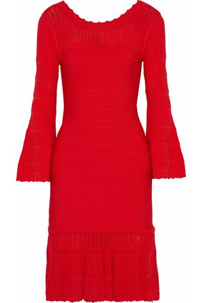 HERVÉ LÉGER Crochet knit-paneled bandage dress