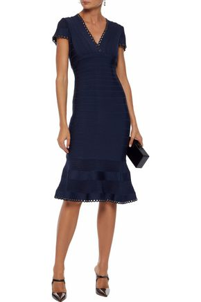 HERVÉ LÉGER Fluted eyelet-embellished bandage dress