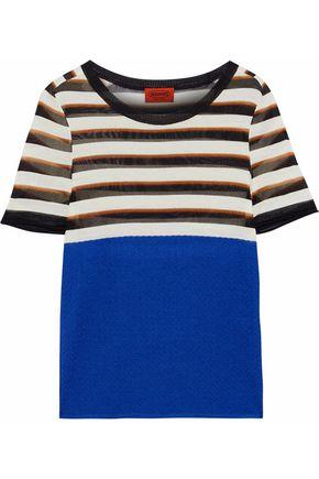 MISSONI Cloqué-paneled striped stretch-knit T-shirt