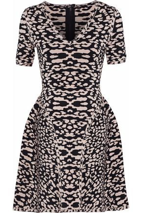 HERVÉ LÉGER Flared leopard-print jacquard-knit mini dress