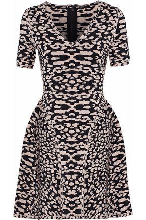 HERVÉ LÉGER Flared leopard-print jacquard-knit mini dress