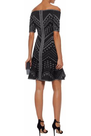 HERVÉ LÉGER Off-the-shoulder jacquard-knit mini dress