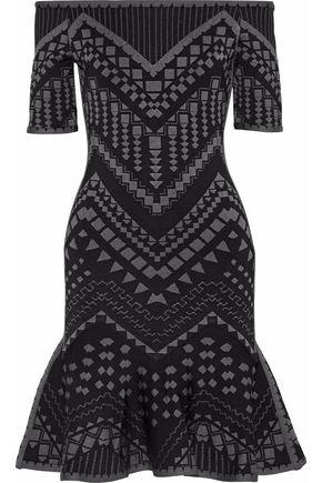 HERVÉ LÉGER Off-the-shoulder jacquard-knit mini dress