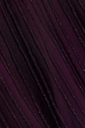 HERVÉ LÉGER Ribbed glittered bandage dress