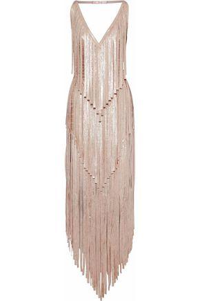 HERVÉ LÉGER Izabel fringed metallic coated bandage gown